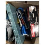 Box of misc tools, ratchets, drill