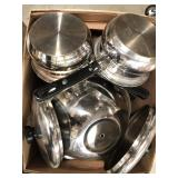 Box of stainless steel pots and mixing bowl