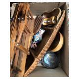 Box of misc wooden kitchenware, wine rack