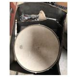 Box with snare drum, drumstick