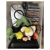 Bin with cds, CD player, misc toys