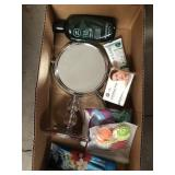 Box of misc lotion, mirror, soap