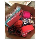 Box of various belts