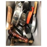 Large bin full of pots/pans/ shakers