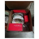 Box of Christmas and floral dishes
