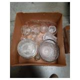 Box of glass and crystal pieces