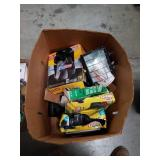Box of trash bags and work light