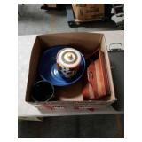 Box of miscellaneous pottery and fry tray