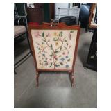Needlework antique fire screen