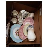 Box of floral dishes and miscellaneous