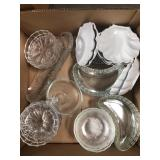 Box of misc glass trays