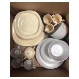 Box of plates, cups and bowls