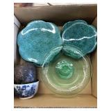 Box of plates, cake stand, vase & Asian bowl