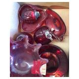 Box of misc red glass
