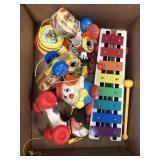 Box of vintage toys, xylophone
