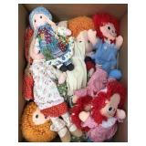 Box of raggedy Ann & Annie dolls
