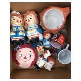 Box of raggedy Ann Knickknacks
