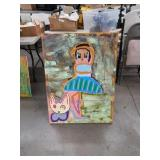 oil painting on canvas girl with cat