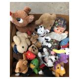 Box of misc stuffed animals