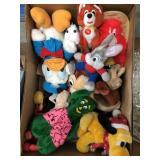 Box of Disney stuffed animals, Gumby