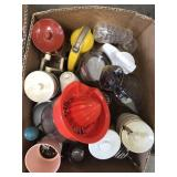 Box of syrup containers, juicers