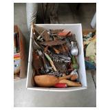 Box of vintage kitchen utensils