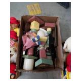 Box of wooden candle holders and vintage items