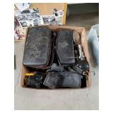 Box of old camera bags and accessories