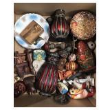 Box of matryoshka dolls, plates, decor etc