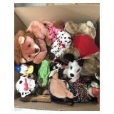 Box of stuffed animals misc