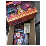 Box of misc toys, fisher price, hunchback of