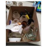 Box of lampshades etc