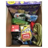Box of misc toys, car chargers etc