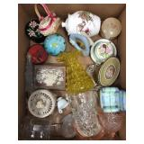 Box of misc glass, small containers, jewelry