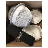 Box of mixing bowls, casserole dishes, thermos