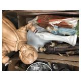 Box of misc statues, mother Mary