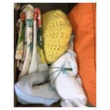 Box of linen, pillows