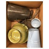 Box of cast iron pans, pitchers etc