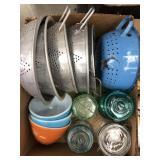Box of colanders, jars & mixing bowls