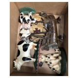 Box of cast iron animals and ship