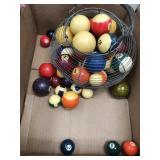 Box of pool table balls