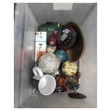 Tub of misc globes, tea infuser, mug etc