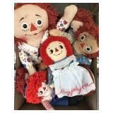 Box of raggedy Ann dolls