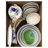 Box of bowls, teapot, dishes