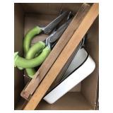 Box of garden tools, wash boards