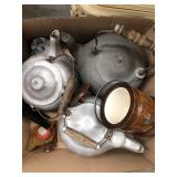 Box of tea kettles, ice bucket