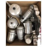 Box of tea kettles etc