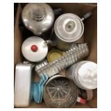 Box of tea kettles, baking ware
