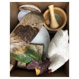 Box of farm kitchen decor, dishes