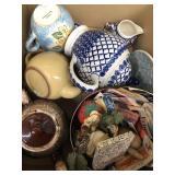 Box of tea pots, misc sewing